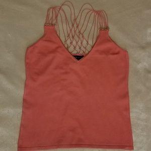 NY & Co. Peach Silk Strappy Back Top, sz Sm